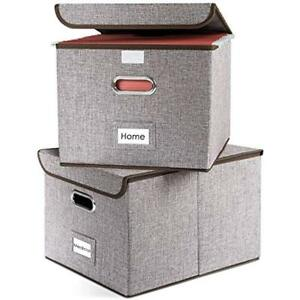 File Boxes Collapsible Decorative Linen Filing Storage Organizer Hanging Folders