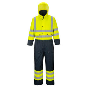 Portwest S485 Hi Vis Contrast Coverall Waterproof Quilt Lined Ansi Class 3