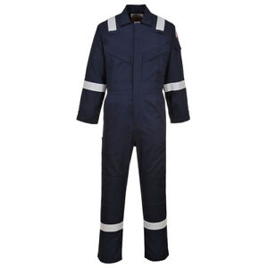 Portwest Ufr21 Super Lightweight Fr Anti static Coverall In Navy And Orange