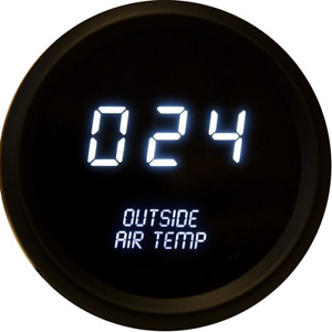 Universal Digital Outside Air Temperature Gauge White Leds Black Bezel Usa Made