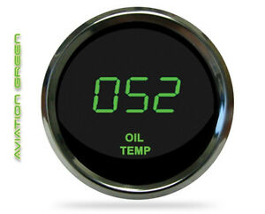 Universal Digital Oil Temperature Gauge Green Led Chrome Bezel Lifetime Warranty