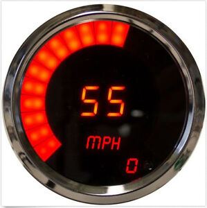 3 3 8 Universal Digital Memory Speedometer Red Led Gauge Chrome Bezel