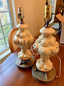 Pair Of Italian Capodimonte Porcelain Lamps Butter Cream Gold Brass Base Signed