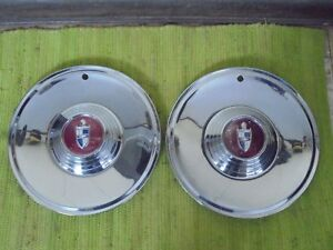 56 57 Lincoln Hub Caps 15 Set Of 2 Wheel Covers Hubcaps 1956 1957