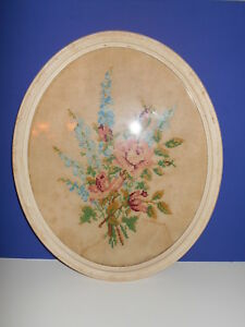 Large Vintage Oval Framed Cross Stitch Wall Picture Floral Roses 18 X 15