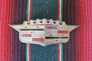 1950 S Cadillac Hood Trunk Emblem Crest Ornament Badge Decal Chrome Bezel