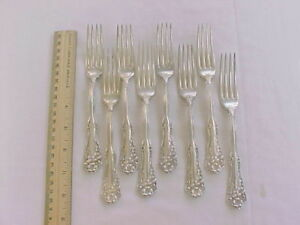 8 Luncheon Forks Wm Rogers Silver Plate Berwick Diana