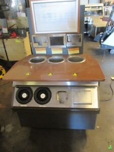 Custom 3 well Hot Soup Warmer Merchandiser Sauce Bar Steam Table