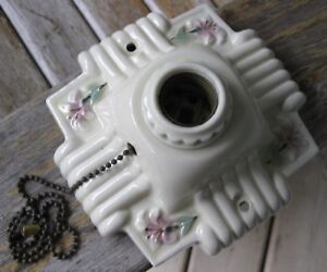 Antique Art Deco Floral Porcelain Vintage One Light Ceiling Fixture Shabby Chic
