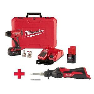 Milwaukee Cordless Compact Heat Gun M12 Soldering Iron Kit 2 batteries charger