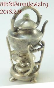 Estate Dollhouse Miniatures Sterling Silver Tea Kettle And Warmer Stand 2 Tall
