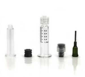 1ml Oil Syringe Borosilicate Glass Luer Lock W Tip Dab Thick Concentrate Co2