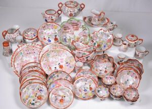 56 Pieces Of Antique Hand Painted Japanese Kutani Porcelain China Geisha Motif