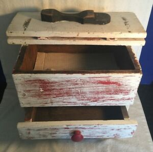 Vintage Antique Wood Wooden Shoe Shine Box With Drawer Diamond Motel Route 66