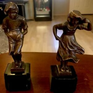 Antique Bronze German Statues Signed By E Beck Boy And Girl Kalte Wind