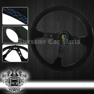 350mm 3 Deep Dish Aluminum Frame Steering Wheel Suede Beginner Jdm Horn Button