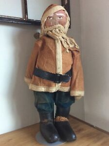 Rare Antique Early Large 25 Tall Santa Claus All Original W Stand Collectible