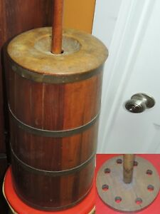 Wood Wooden Butter Churn 19 42 Pine Maple Natural Finish Primitive Antique