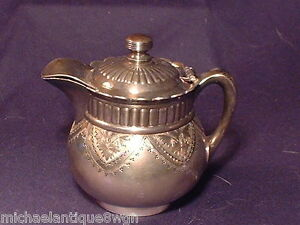 Esthetic Antique Pairpoint Silver Plated Covered Cream Jug Pitcher