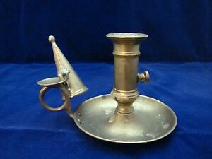 Antique Brass Wee Willy Winkey Ejector Candlestick Chamber Stick