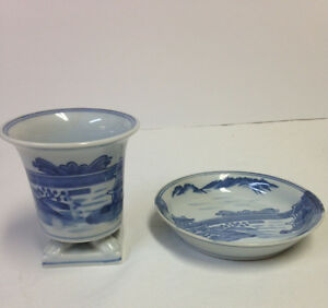 Rare Blue White Chinese Japanese Porcelain Brush Pot Brush Bowl