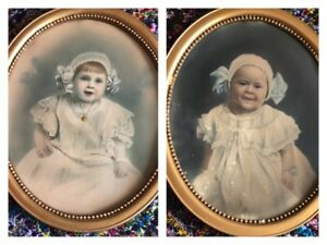 Pair Antique Oval Gilt Wood Bead Picture Frames 19 X 23 Old Baby Portraits Vg