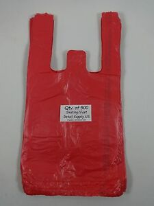 500 Qty Red Plastic T shirt Retail Shopping Bags W Handles 8 x5 x16 Sm