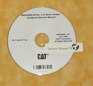 Reg00885 Cat Caterpillar 112 Motor Road Grader Service Manual Cd 89j 80j