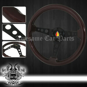350mm 6 Bolt Hole Mounting Steering Wheel Wood Grain Brown Jdm Vip Horn Button