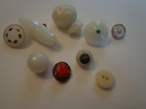 Antique Victorian Art Deco Milk Glass Button Lot