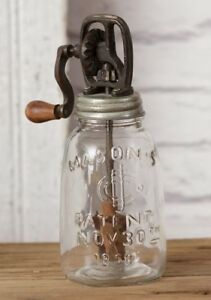 Farmhouse Mason Jar W Non Working Butter Churn Decorative Primitive Rustic 8 5