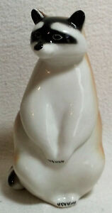 Lomonosov Porcelain Raccoon Figurine Standing Made In The Ussr Hp Vintage Signed