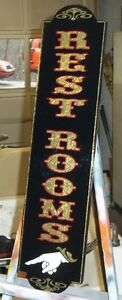Old Fashioned Rest Room Sign Hand Pointer Custom Made Gold Leaf Very Nice