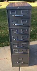 Vintage 7 Drawer Ase All Steel Equiptment Co Index Card File Cabinet