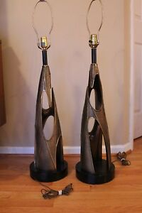 Pair Of Mid Century Modern Brutalist Tall Table Lamps
