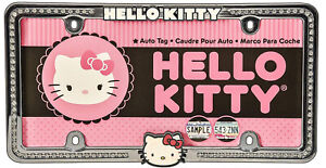Sanrio Hello Kitty Car Truck Rhinestone Bling Metal Chrome License Plate Frame