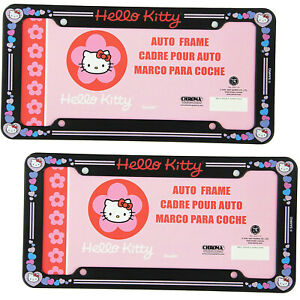 2pc Sanrio Hello Kitty Pink Hearts Car Truck Universal Fit License Plate Frames