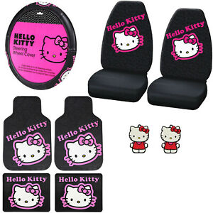 9pc Sanrio Hello Kitty Pink Car Floor Mats Steering Wheel Cover