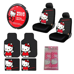 Full Set Sanrio Hello Kitty Core Car Floor Mats Steering Wheel Cover Seat Covers