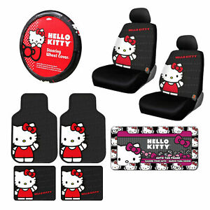 10pc Sanrio Hello Kitty Core Car Floor Mats Steering Wheel Cover