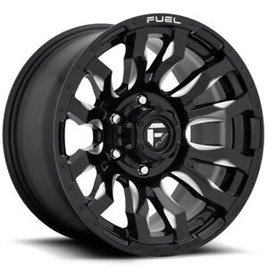 4 Fuel D673 Blitz 20x10 5x127 5x5 18mm Black Milled Wheels Rims