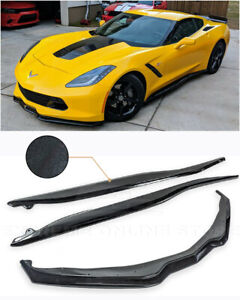 Z06 Painted Carbon Flash Front Splitter Lip W Side Skirts For 14 up Corvette C7