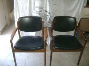 Art Deco Vintage Lounge Two Chairs Black With Wood Arms
