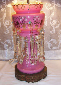 Antique Luster Lamp Pink Cased Opaline Glass Vtg Victorian Crystal Prisms Tall