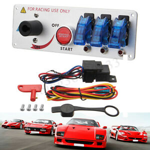 Racing Car Led Toggle Ignition Switch Panel Engine Start Push Button Starter Kit