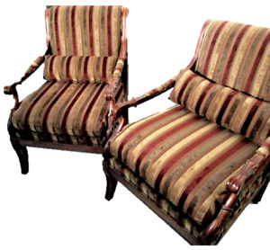 A Pair Ethan Allen Chairs Arm Chair Bergere Vintage Italian Style Roma Chair
