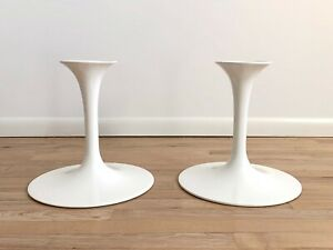 Vtg Set Of 2 Authentic Knoll Eero Saarinen Mcm White Tulip Stool Bases Stands