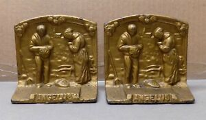 Antique Cast Iron Bookends Angelus Farmer S Prayer Gold Brass Paint 1920s