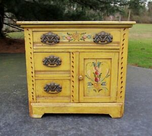 Shabby Antique Primitive Country Hand Painted Wood Victorian Wash Stand Cabinet