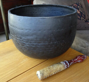 Antique 1864 Japanese Rin Temple Gong Singing Bowl Standing Bell Zen Buddhist